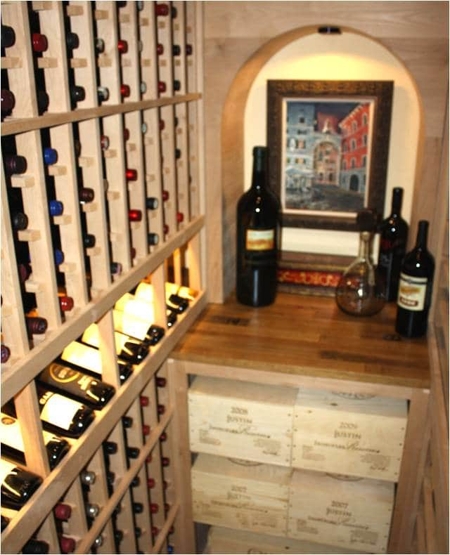 Texas wine cellar display row and arch tabletop