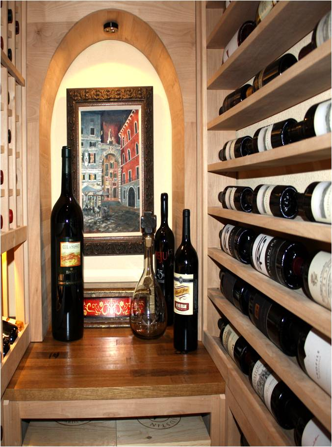 Home Closet Converted Into Wine Storage With Vigilant Racking And Cellar Doors