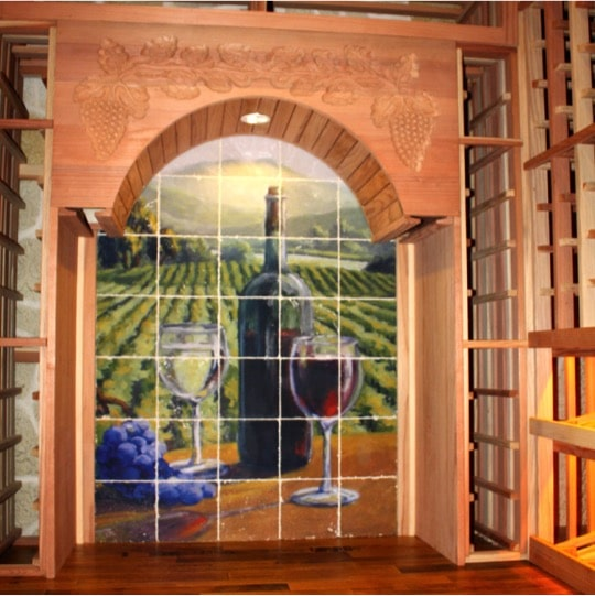 Wine Racks for Big Bottles (Horizontal) with Tile Mural in Colleyville, Texas