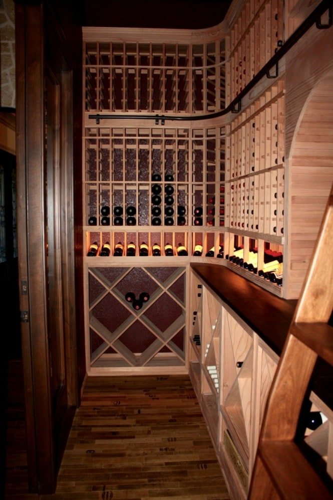Flower Mound Texas cellar left wall wine rack design