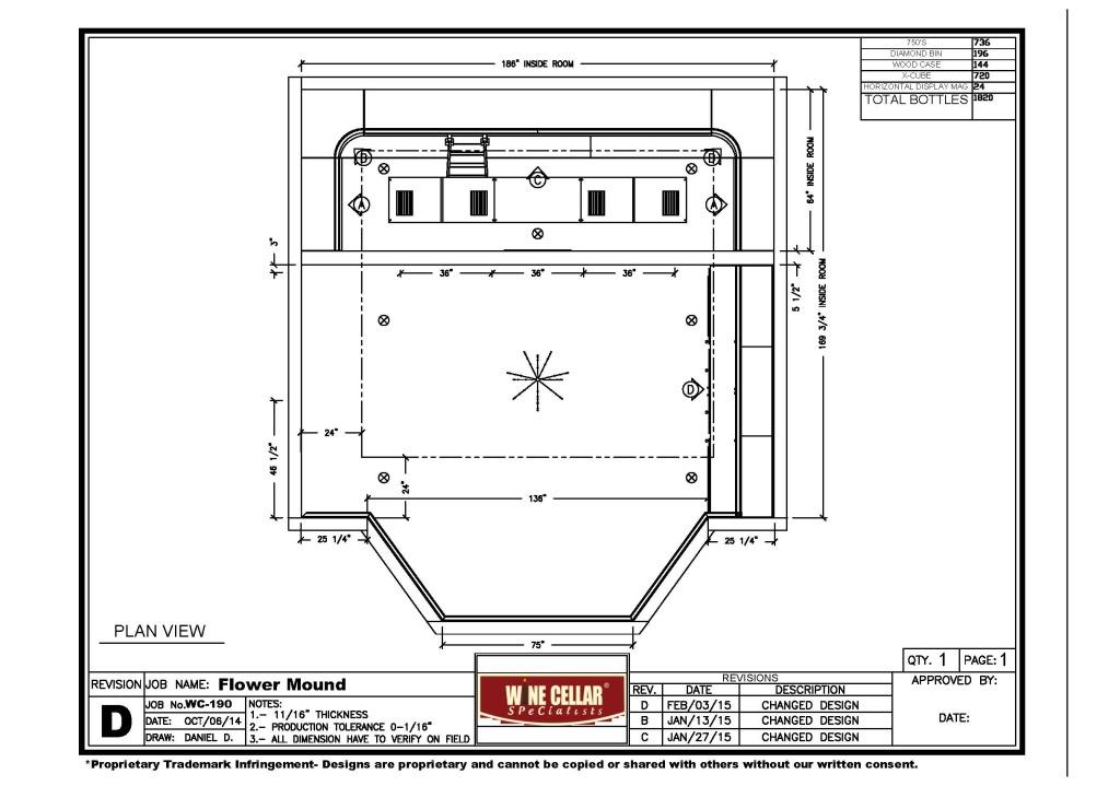 Flower Mound, Texas custom wine cellar design overhead view