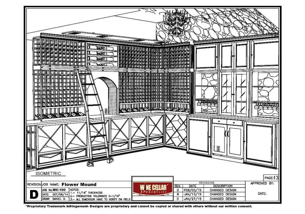 final 3D drawing Flower Mound Texas home wine tasting room and cellar