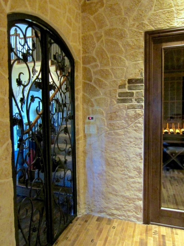 iroon gate and glass door Flower Mound Texas wine cellar design