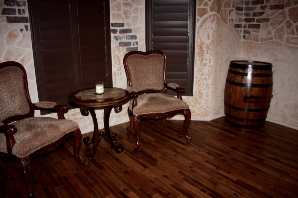wine barrel flooring inside Texas wine tasting room