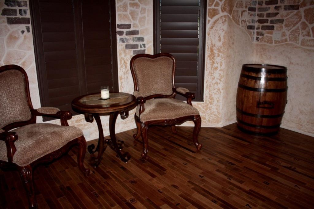 wine barrel flooring inside Texas wine tasting room
