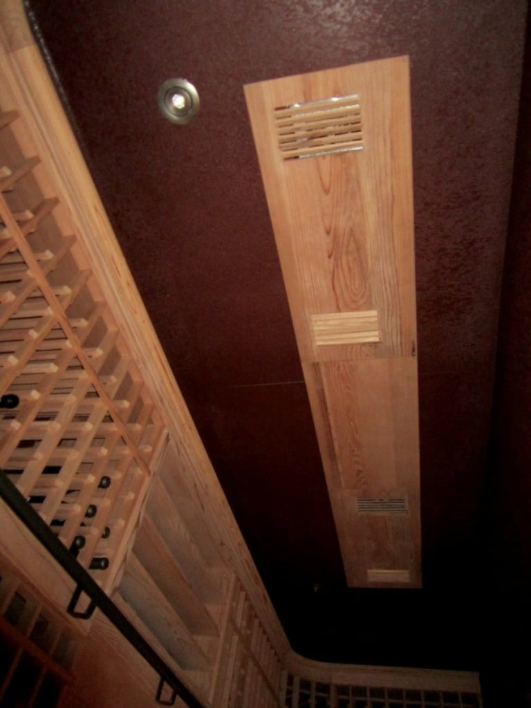 wine cooling system grill cover in ceiling custom wine cellar Flower Mound Texas