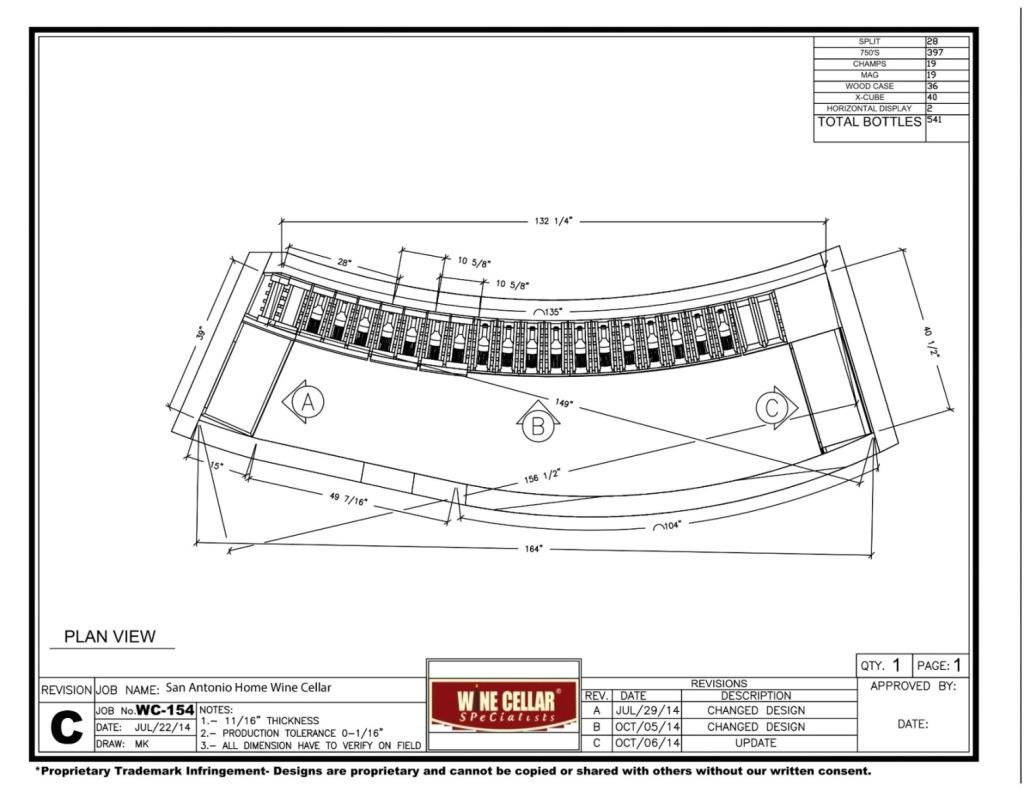 3D Drawing Plan View San Antonio Residential Wine Cellar