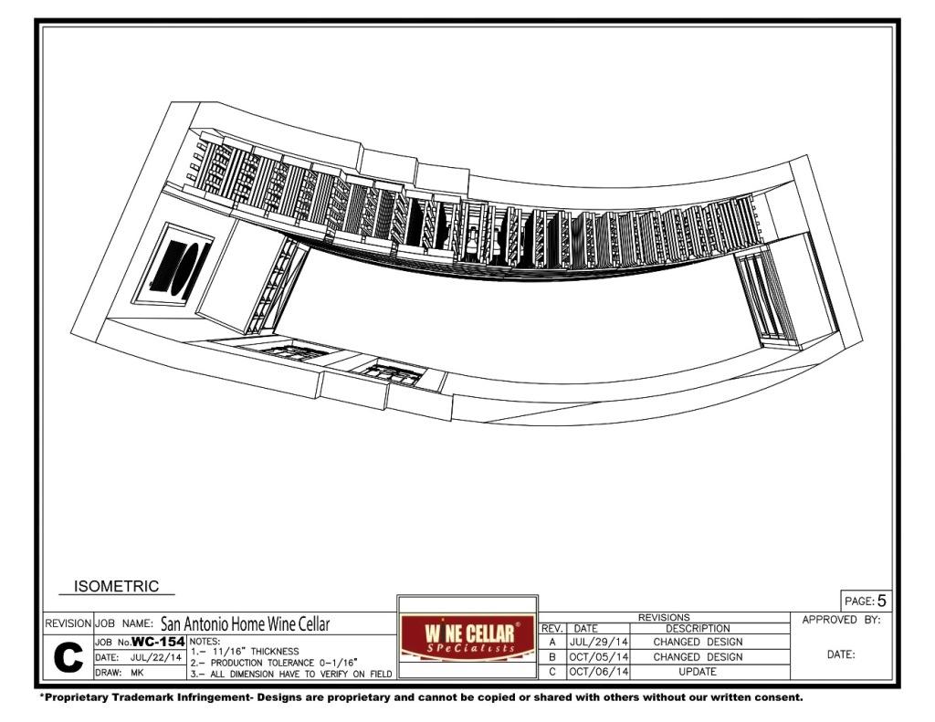 Isometric View Custom Wine Cellar San Antonio