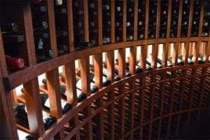 Detailed look at the Light Up display in for wine racks under stairs