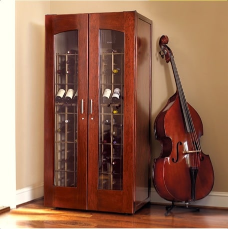 Contemporary Le Cache Model 2400 Wine Cabinet Classic Cherry