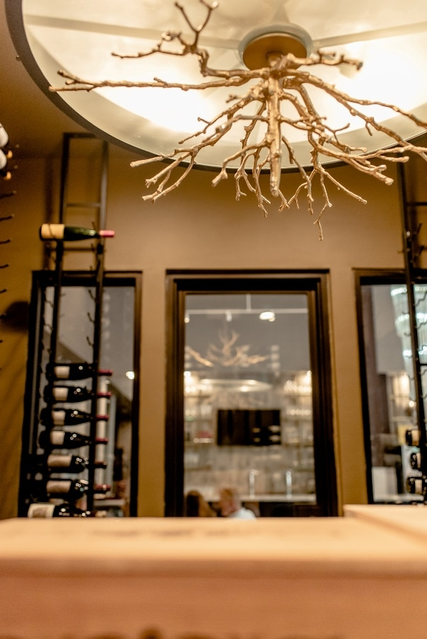 Contemporary Commercial Wine Room with Elegant Glass Doors and Dramatic Lighting by Texas Builders