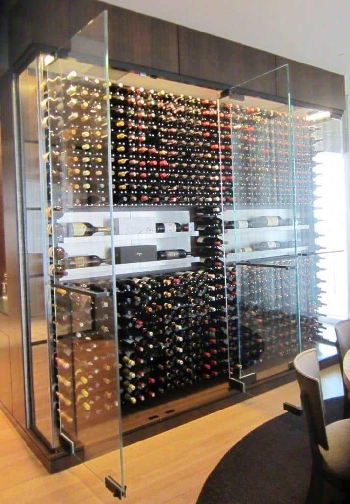 Modern Wine Cellar with Seamless Glass Doors
